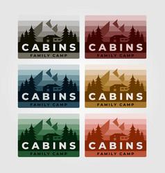 set cabin logo vintage design vector image