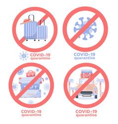 Set coronavirus travel and vacation vector