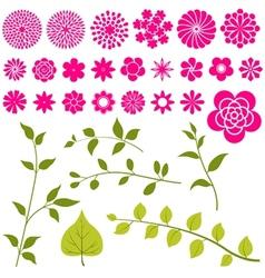 set flowers - floral elements vector image