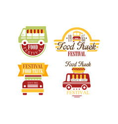 set of colorful food truck emblems logos vector image