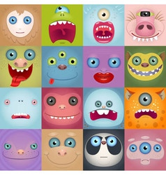 Set Of Funny Cartoon Monster Faces vector image