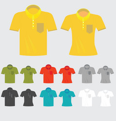Set of templates colored polo shirts for man and vector
