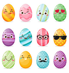 set painted easter eggs with funny faces vector image