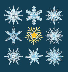 set snowflakes in thin line style vector image