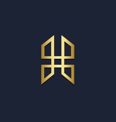shape line geometry gold logo vector image