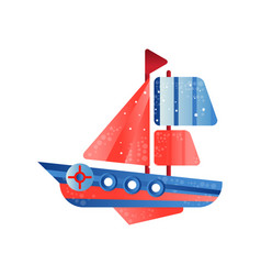 small ship with red sails flat vector image
