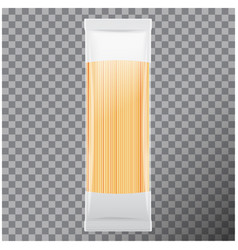Spaghetti capellini pasta package isolated on vector