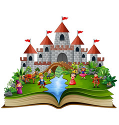 Story book with royal story cartoon vector