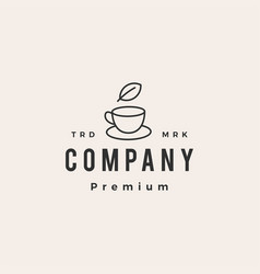 tea cup leaf hipster vintage logo icon vector image