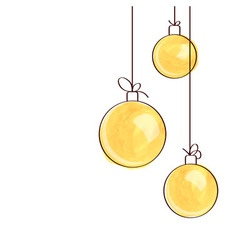 Three yellow watercolor Christmas tree balls vector