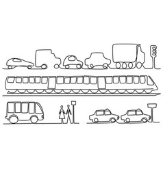 transport vehicles one line drawing vector image