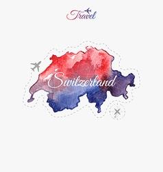 Travel around the world Switzerland Watercolor map vector image