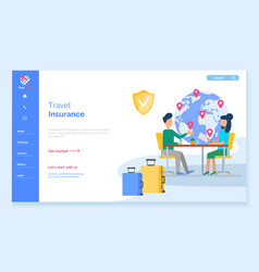 Travel insurance client and agent in office web vector
