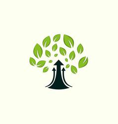 tree up arrow naturally business logo vector image