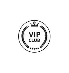 vip club - flat circle icon with crown symbol and vector image