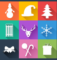 Winter holiday icons set vector
