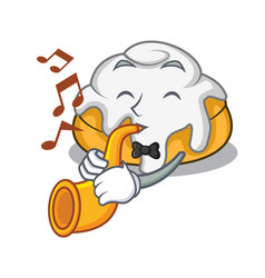 With trumpet cinnamon roll mascot cartoon vector