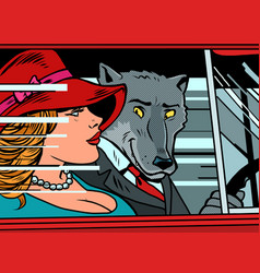 wolf and little red riding hood in car vector image