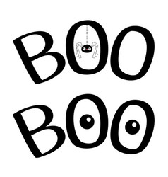 Word boo text with hanging spider insect vector
