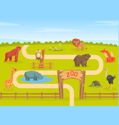 zoo park with wild animals natural landscape vector image