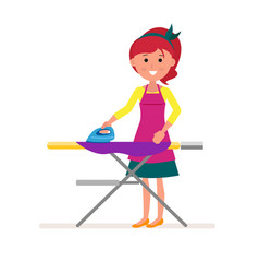 cartoon housekeeper or servant housewife ironing vector image