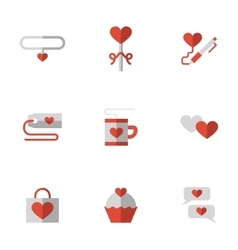 Flat color love relationship icons vector image vector image