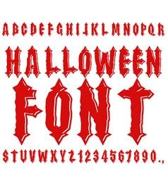 Halloween font Ancient alphabet Blood Gothic vector image