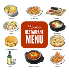 korean cuisine traditional dishes flat vector image