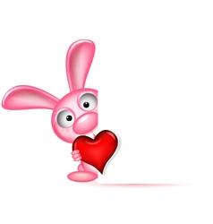 lovely rabbit holds love heart vector image