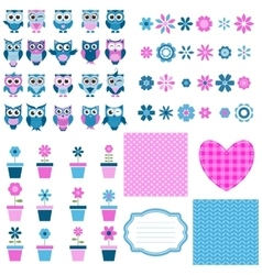 owls flowers and background set vector image