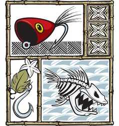 tiki fishing vector image