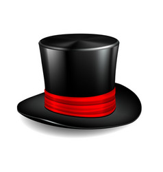 black cylinder hat with red ribbon vector image
