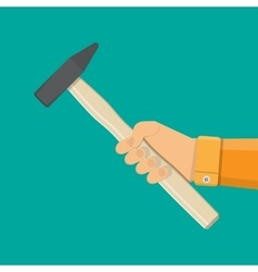 Carpenter hammer tool in hand vector image vector image