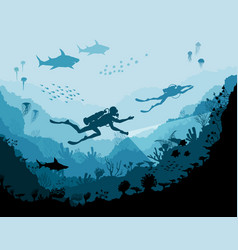 diver explorers and reef underwater wildlife vector image vector image