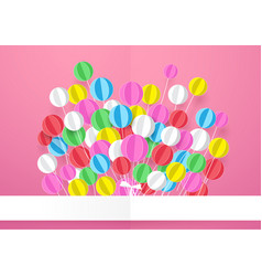 happy birthday banner with colorful balloons vector image vector image