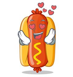 in love hot dog cartoon character vector image