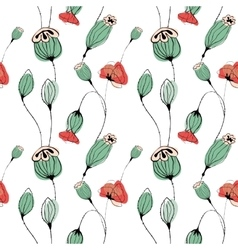 Poppy capsule seamless pattern vector image vector image