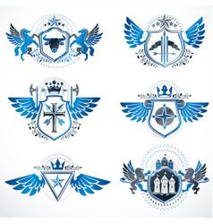 vintage heraldry design templates emblems vector image