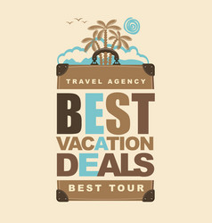 banner on the travel theme with suitcase and palms vector image vector image