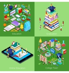 Isometric Educational Concept College Graduation vector image vector image