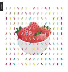 Strawberry in bowl vector image