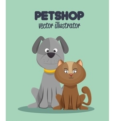 veterinary pet shop cat and dog graphic vector image vector image