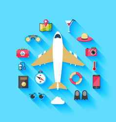 Airplane travel concept background poster vector