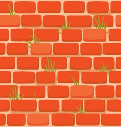brick wall with grass vector image