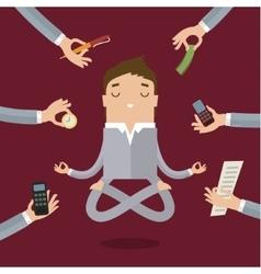 Businessman doing Yoga vector image