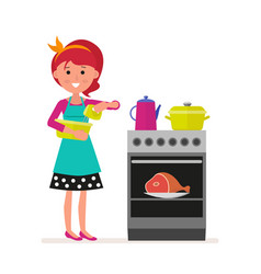 housewife or maid with a mixer in her hands vector image vector image