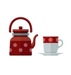 Kettle and mug for tea flat vector image vector image