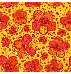 Orange flowers doodles seamless pattern vector image vector image