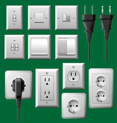 Power outlet light switch and electrical plug set vector image vector image
