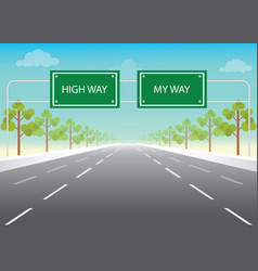 road sign with my way and high way words on vector image